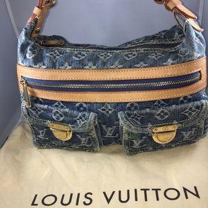 Auth Louis Vuitton Denim Baggy PM Shoulder Bag